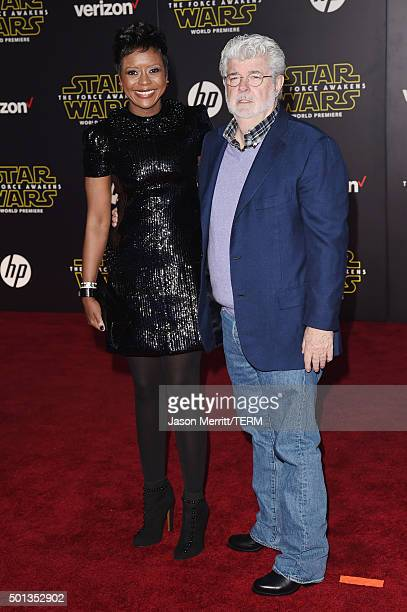 Filmmaker George Lucas and Mellody Hobson attend Premiere of Walt Disney Pictures and Lucasfilm's 'Star Wars The Force Awakens' on December 14 2015...