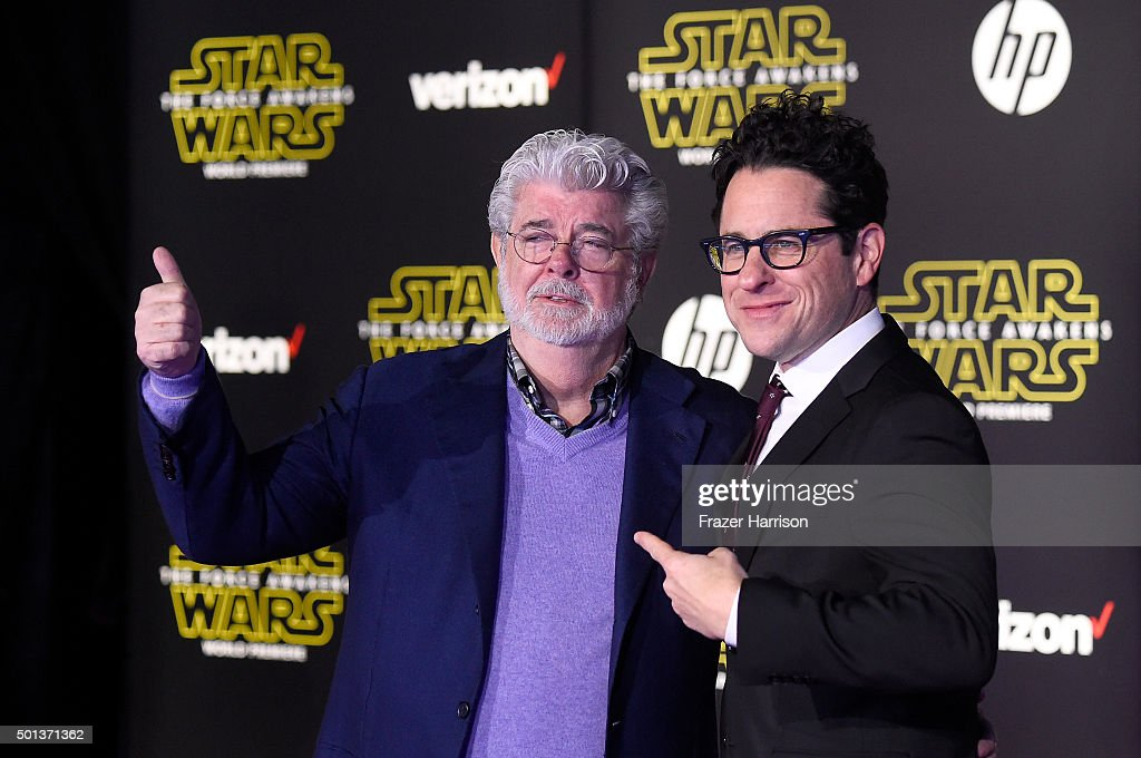 Filmmaker George Lucas (L) and writer-director J.J. Abrams attend the Premiere of Walt Disney Pictures and Lucasfilm's 'Star Wars: The Force Awakens' on December 14, 2015 in Hollywood, California.