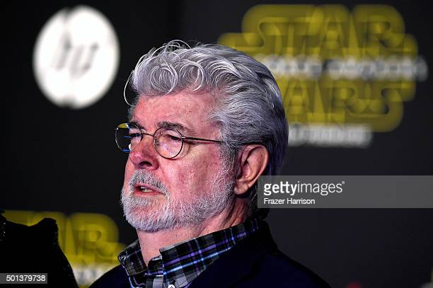 Filmmaker George Lucas attends the premiere of Walt Disney Pictures and Lucasfilm's 'Star Wars The Force Awakens' on December 14th 2015 in Hollywood...