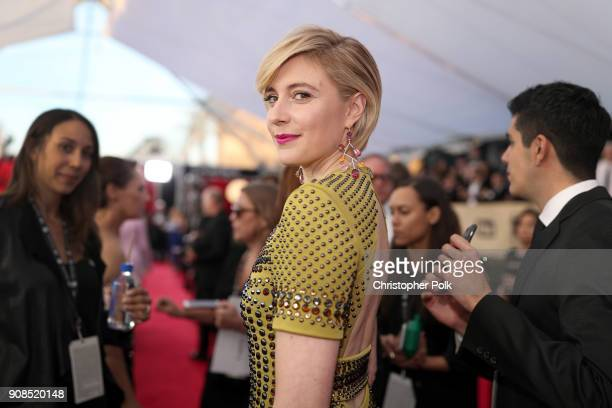Filmmaker Greta Gerwig attends the 24th Annual Screen Actors Guild Awards at The Shrine Auditorium on January 21 2018 in Los Angeles California...