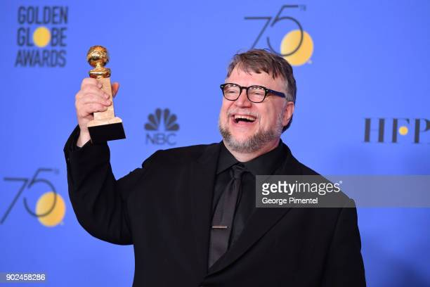 Filmmaker Guillermo del Toro winner of the award for Best Director for 'The Shape of Water' poses in the press room during The 75th Annual Golden...