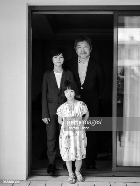 Filmmaker Hirokazu Koreeda and actors Miyu Sasaki and Jyo Kairi are photographed for Gala Croisette on May 2018 in Cannes France