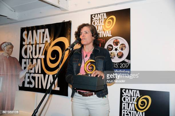 Filmmaker Jacki Nunez receives a festival award for her film Straws at the Santa Cruz Film Festival at Tannery Arts Center on October 15 2017 in...