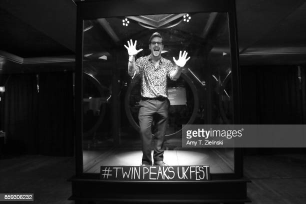 Filmmaker James Arden poses in the recreated Glass Box during the Twin Peaks UK Festival 2017 at Hornsey Town Hall Arts Centre on October 7 2017 in...