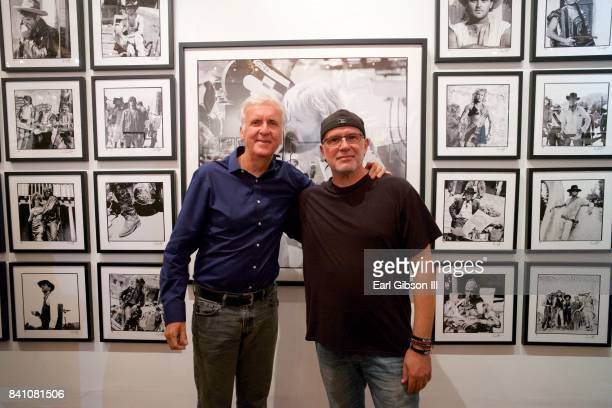Filmmaker James Cameron and photographer Chris Cuffaro attend the VIP Reception for Chris Cuffaro's New Exhibit 'Greatest Hits Martini Ranch' at Mr...