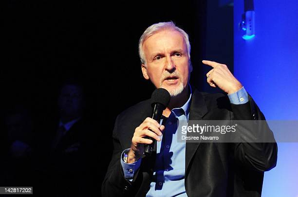 Filmmaker James Cameron visits the Apple Store Soho on April 12 2012 in New York City