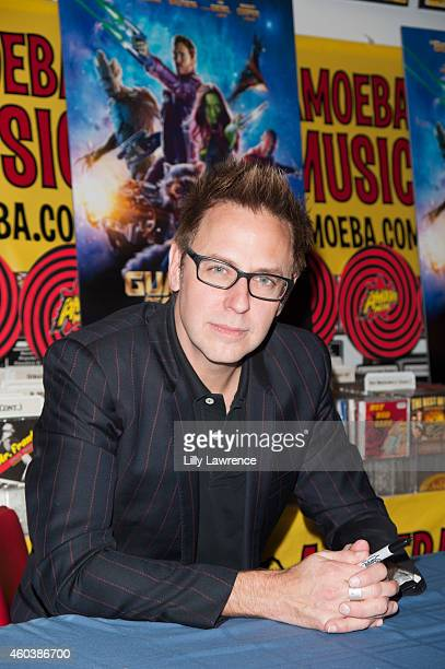 Filmmaker James Gunn signs copies of his Marvel film 'Guardians Of The Galaxy' at Amoeba Music on December 12 2014 in Hollywood California