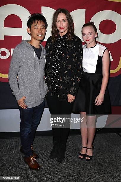 Filmmaker James Wan actresses Vera Farmiga and Madison Wolfe attend the screening and QA for 'The Conjuring 2' at Aero Theatre on June 8 2016 in...