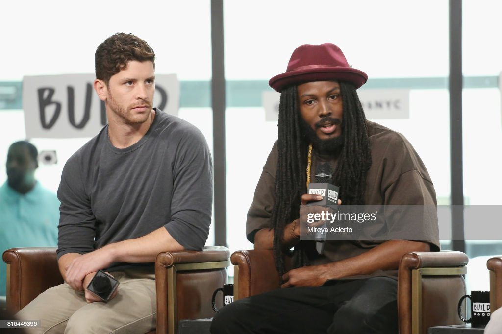 Filmmaker Jason Zeldes and poet Donte Clark visit Build to discuss the film, 'Romeo Is Bleeding' at Build Studio on July 17, 2017 in New York City.