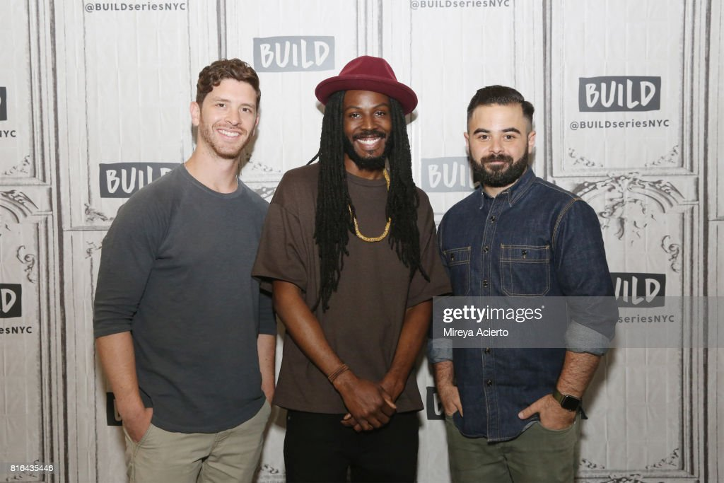 Filmmaker Jason Zeldes, poet Donte Clark and producer Michael Klein visit Build to discuss the film 'Romeo Is Bleeding' at Build Studio on July 17, 2017 in New York City.