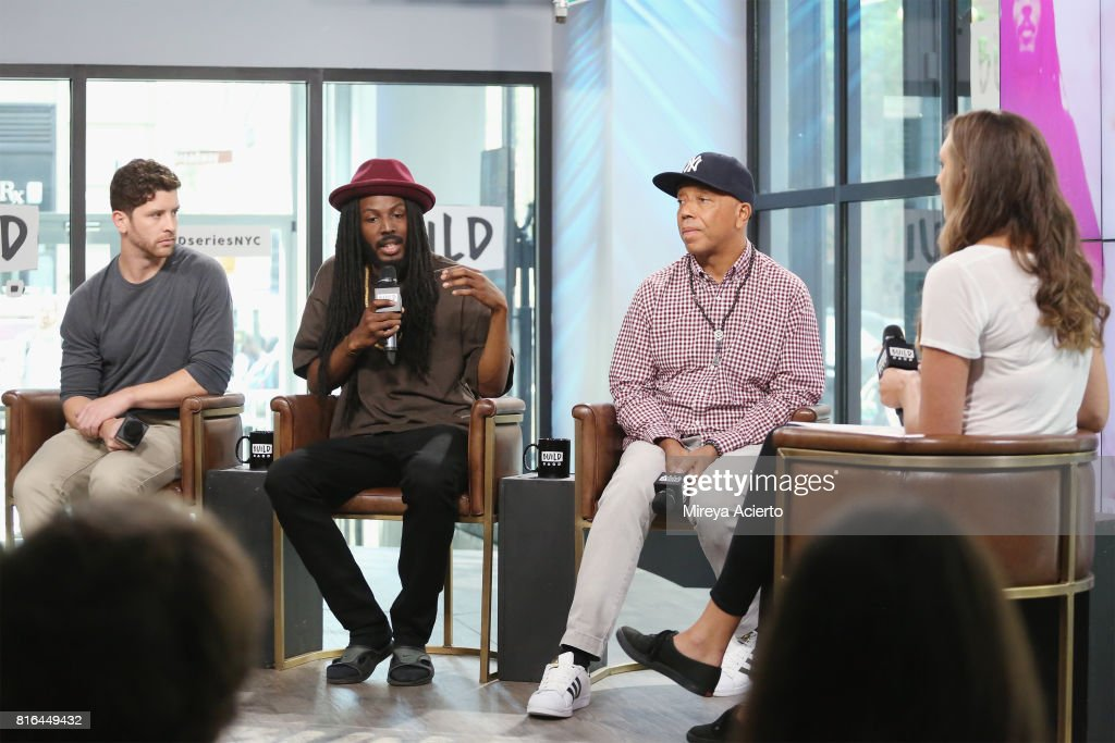 Filmmaker Jason Zeldes, poet Donte Clark and producer Russell Simmons visit Build to discuss the film, 'Romeo Is Bleeding' at Build Studio on July 17, 2017 in New York City.