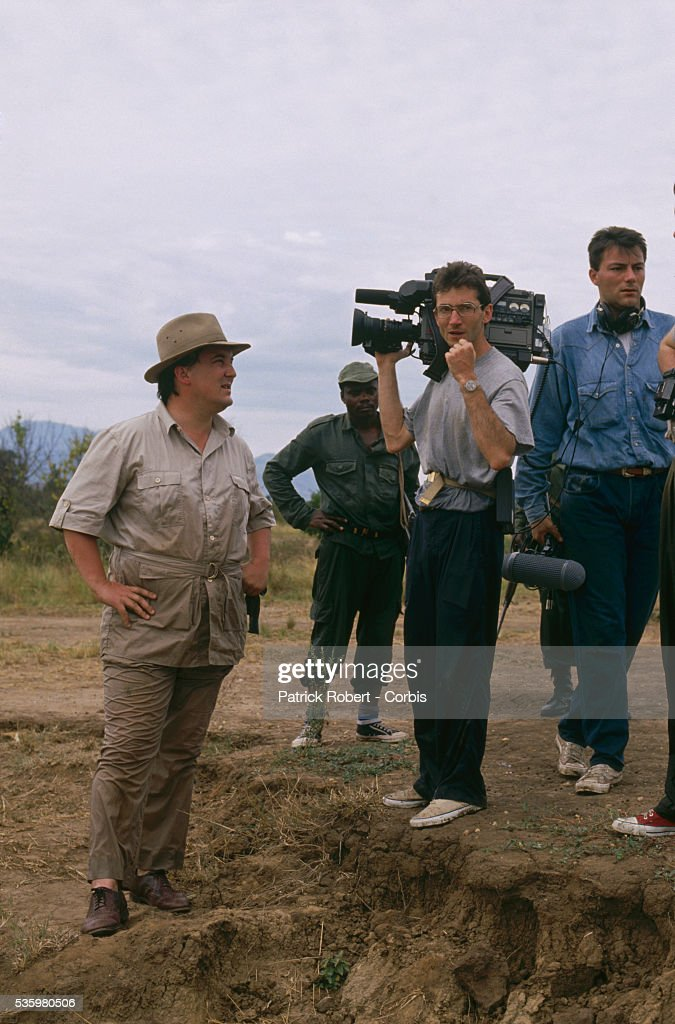 Filmmaker Jean-Louis Remilleux (left) and his film crew make a documentary on the traffic of ivory in Zaire. Poaching and the illegal trafficking of ivory are an ongoing problem in Zaire (now the Democratic Republic of Congo).