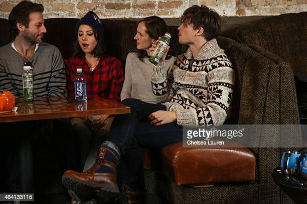 Filmmaker Jeff Baena and actors Aubrey Plaza Molly Shannon and Matthew Gray Gubler attend the Day For Night Video Lounge at Huffington Post In...