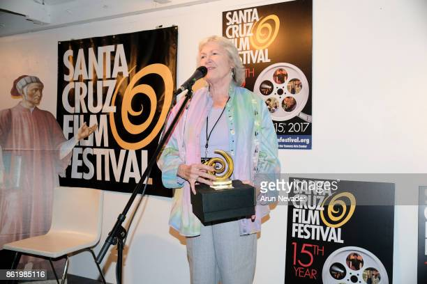 Filmmaker Jennifer Townsend receives a festival award for her film Catching Sight of Thelma and Louise at the Santa Cruz Film Festival at Tannery...