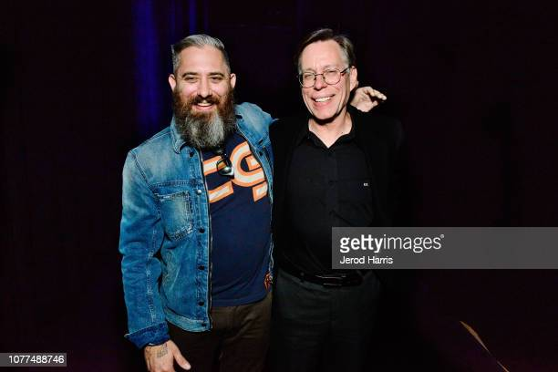 Filmmaker Jeremy Corbell and Bob Lazar attend Los Angeles Special Screening Of Documentary 'Bob Lazar Area 51 Flying Saucers' at The Ace Hotel on...