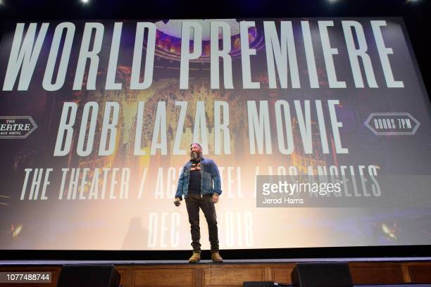 Filmmaker Jeremy Corbell on stage at the Los Angeles Special Screening Of Documentary 'Bob Lazar Area 51 Flying Saucers' at Ace Hotel on December 3...