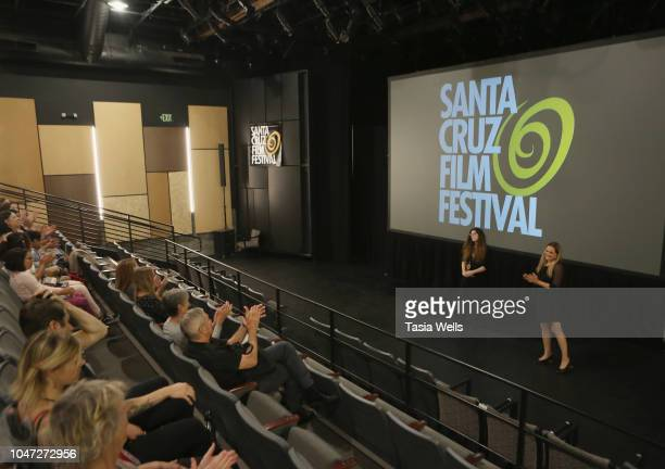 Filmmaker Jesseca Ynez Simmons and Santa Cruz Film Festival director Catherine Segurson speaks onstage at the 2018 Santa Cruz Film Festival on...