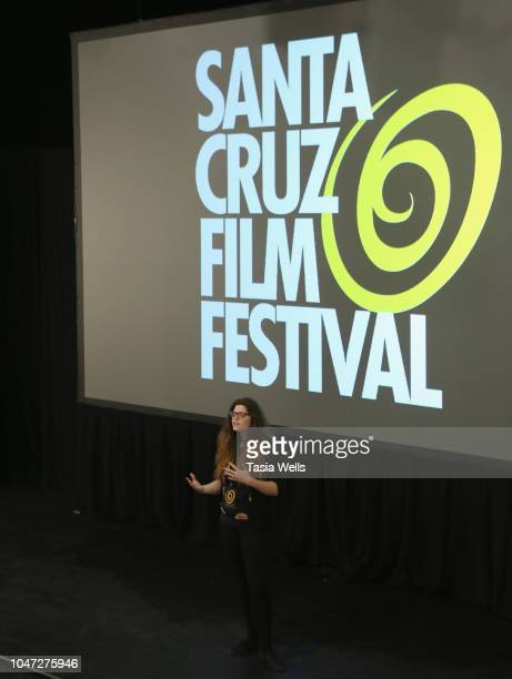 Filmmaker Jesseca Ynez Simmons speaks onstage at the 2018 Santa Cruz Film Festival on October 7 2018 in Santa Cruz California