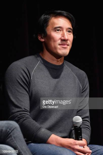 """Filmmaker Jimmy Chin speaks onstage at the Docs to Watch """"Free Solo"""" QA during the 21st SCAD Savannah Film Festival on October 28 2018 in Savannah..."""