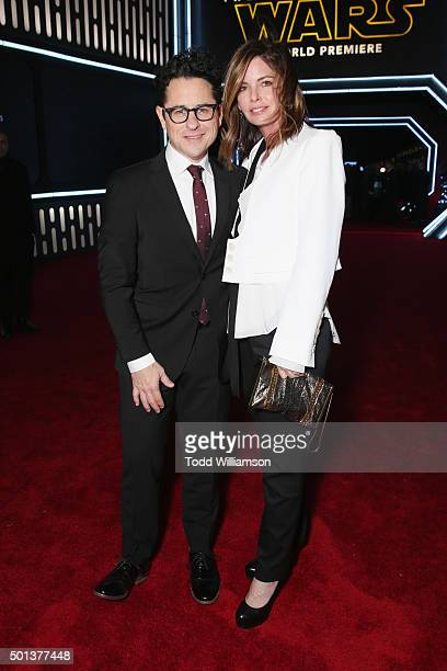 Filmmaker JJ Abrams and Katie McGrath attend the Premiere of Walt Disney Pictures and Lucasfilm's Star Wars The Force Awakens on December 14 2015 in...