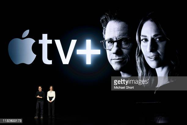 Filmmaker JJ Abrams and musician Sara Bareilles speak during an Apple product launch event at the Steve Jobs Theater at Apple Park on March 25 2019...