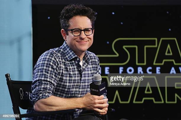 Filmmaker JJ Abrams discusses the film Star Wars The Force Awakens at AOL Studios in New York on November 30 2015 in New York City