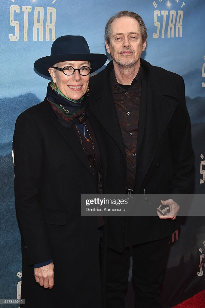 Filmmaker Jo Andres (L) and actor Steve Buscemi attend 'Bright Star' Opening Night on Broadway at The Cort Theatre on March 24, 2016 in New York City.