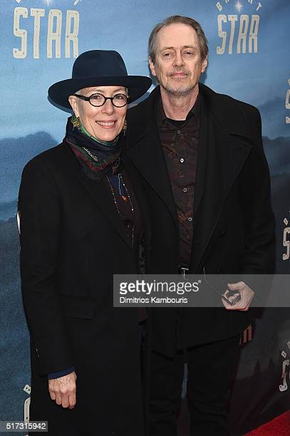 Filmmaker Jo Andres and actor Steve Buscemi attend Bright Star Opening Night on Broadway at The Cort Theatre on March 24 2016 in New York City