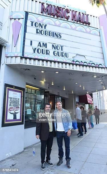 Filmmaker Joe Berlinger and professional dancer Derek Hough attend the celebration of the release of Joe Berlinger / Tony Robbins documentary I Am...