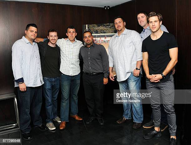 Filmmaker Joe Mazzello and actor Aaron Tveit pose with subjects of the movie during the 'Undrafted' New York Screening at Bryant Park Hotel on July...