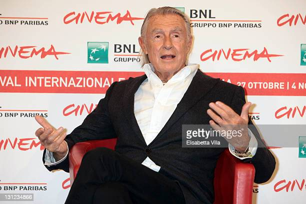 Filmmaker Joel Schumacher poses at a photocall during the 6th International Rome Film Festival on November 3 2011 in Rome Italy