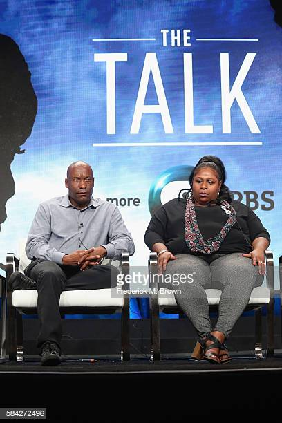 Filmmaker John Singleton and Samaria Rice speak onstage during 'The Talk ' panel discussion at the PBS portion of the 2016 Television Critics...