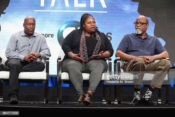 Filmmaker John Singleton Samaria Rice and director/supervising producer Sam Pollard speak onstage during 'The Talk ' panel discussion at the PBS...