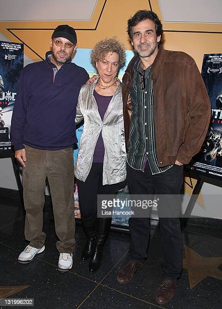 "Filmmaker Jose Padilha, New Video co-president Susan Margolin and producer Marcos Prado attends the ""Elite Squad: The Enemy Within"" premiere at the..."