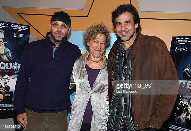 """Filmmaker Jose Padilha, New Video co-president Susan Margolin and producer Marcos Prado attends the """"Elite Squad: The Enemy Within"""" premiere at the..."""