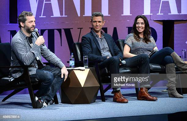Filmmaker Judd Apatow Funny or Die President of Production Mike Farah and Filmmaker Whitney Cummings speak onstage during How to Earn Thousands...