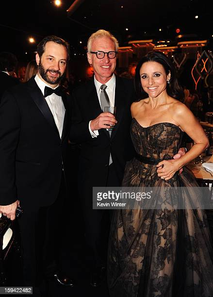 Filmmaker Judd Apatow producer Brad Hall and actress Julia LouisDreyfus attend the 70th Annual Golden Globe Awards Cocktail Party held at The Beverly...