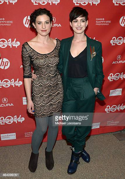 Filmmaker Kate BarkerFroyland and actress Anne Hathaway attend the premiere of Song One at the Eccles Center Theatre during the 2014 Sundance Film...