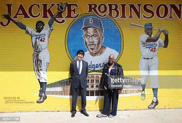 Filmmaker Ken Burns and Sharon Robinson daugther of Jackie Robinson pose for a pciture outside PS 375 The Jackie Robinson School on April 11 2016 in...
