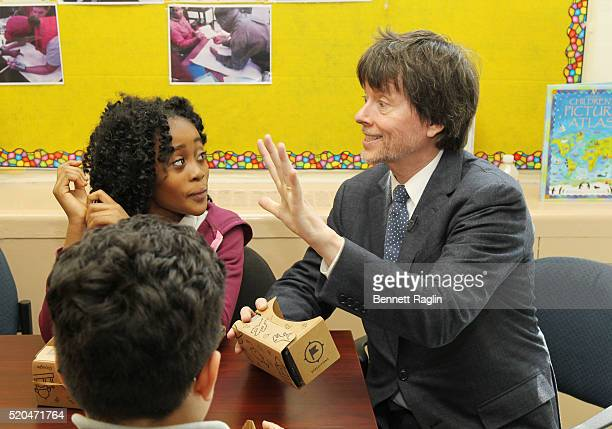 Filmmaker Ken Burns with students at PS 375 The Jackie Robinson School on April 11 2016 in the Brooklyn borough of New York City Ken Burns Sharon...