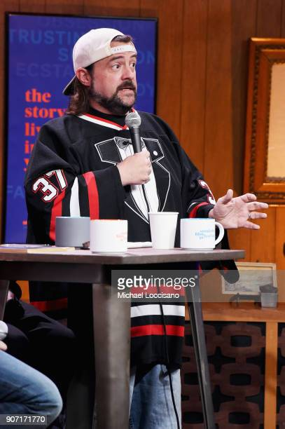 Filmmaker Kevin Smith speaks at the Cinema Cafe With William And Kevin Smith Times Talk during the 2018 Sundance Film Festival at Filmmaker Lodge on...