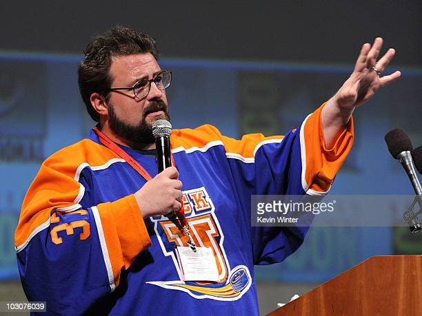 Filmmaker Kevin Smith speaks during a panel discussion at Comic-Con 2010 held at San Diego Convention Center on July 24, 2010 in San Diego,...