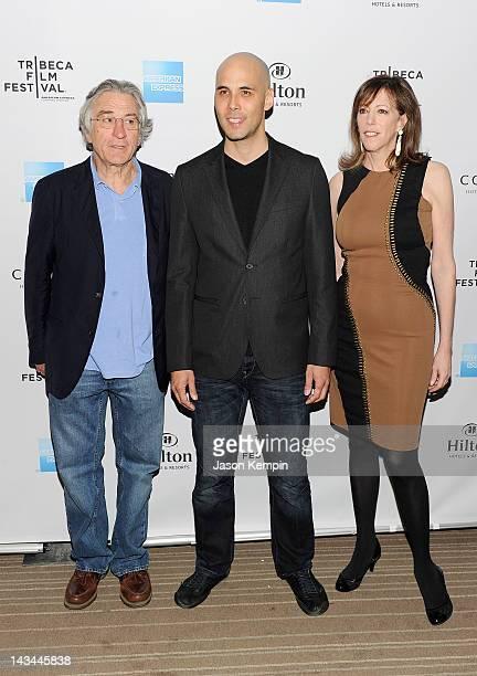 Filmmaker Kim Nguyen poses with Tribeca Film Festival cofounders Robert De Niro and Jane Rosenthal at the Tribeca Film Festival Awards party at...