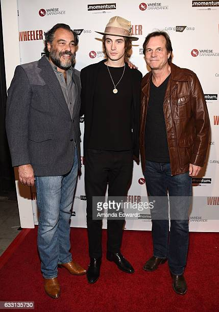 """Filmmaker King Orba and actors James Paxton and Bill Paxton arrive at the premiere of Momentum Pictures' """"Wheeler"""" at the Vista Theatre on January..."""