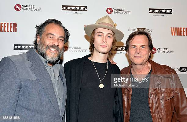 """Filmmaker King Orba, James Paxton and actor Bill Paxton attends the premiere of Momentum Pictures' """"Wheeler"""" at the Vista Theatre on January 30, 2017..."""