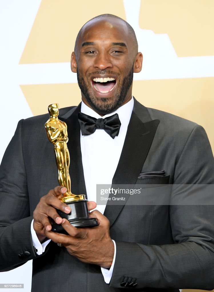 """Filmmaker Kobe Bryant, winner of the Animated Short award for """"Dear Basketball"""" poses in the press room during the 90th Annual Academy Awards at Hollywood & Highland Center on March 4, 2018 in Hollywood, California."""