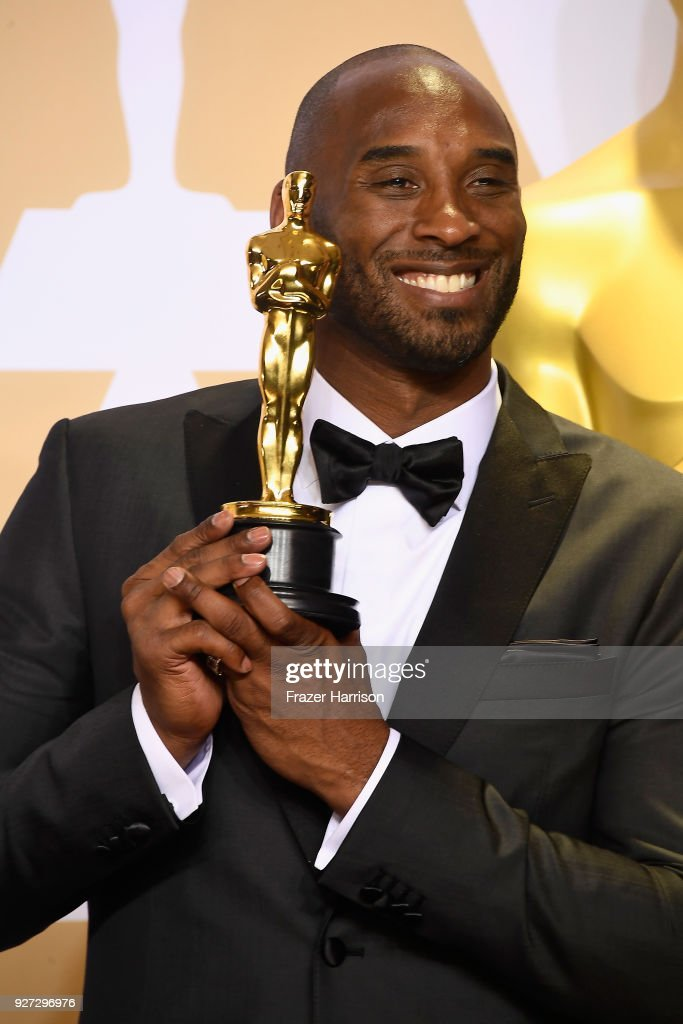 Filmmaker Kobe Bryant, winner of the Best Animated Short Film award for 'Dear Basketball,' poses in the press room during the 90th Annual Academy Awards at Hollywood & Highland Center on March 4, 2018 in Hollywood, California.