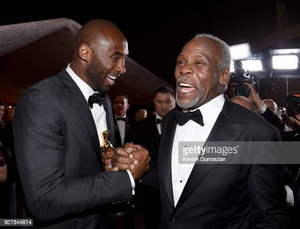 Filmmaker Kobe Bryant , winner of the Best Animated Short Film award for 'Dear Basketball,' and actor Danny Glover attend the 90th Annual Academy...