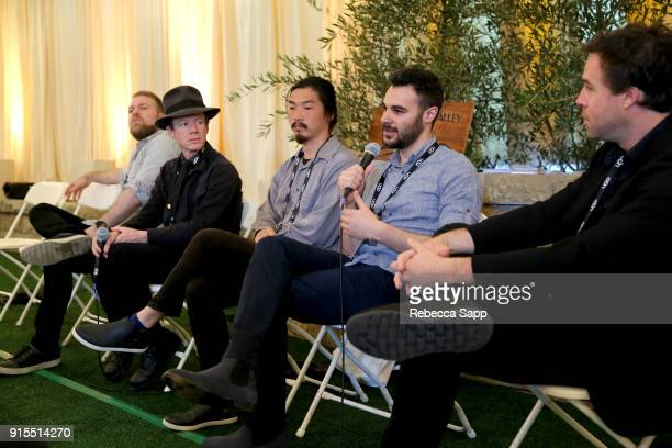 Filmmaker Kyle Morrison Randall Christopher Daniel Chein Zayn Alexander and moderator Michael Abright speak at the Shorts Filmmakers Seminar during...