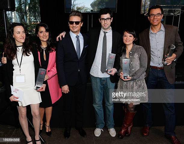 Filmmaker Laura Collela actress Salma Hayek actor Jeremy Renner director Adam Leon producer Mynette Louie and filmmaker Peter Nicks attend the 2013...